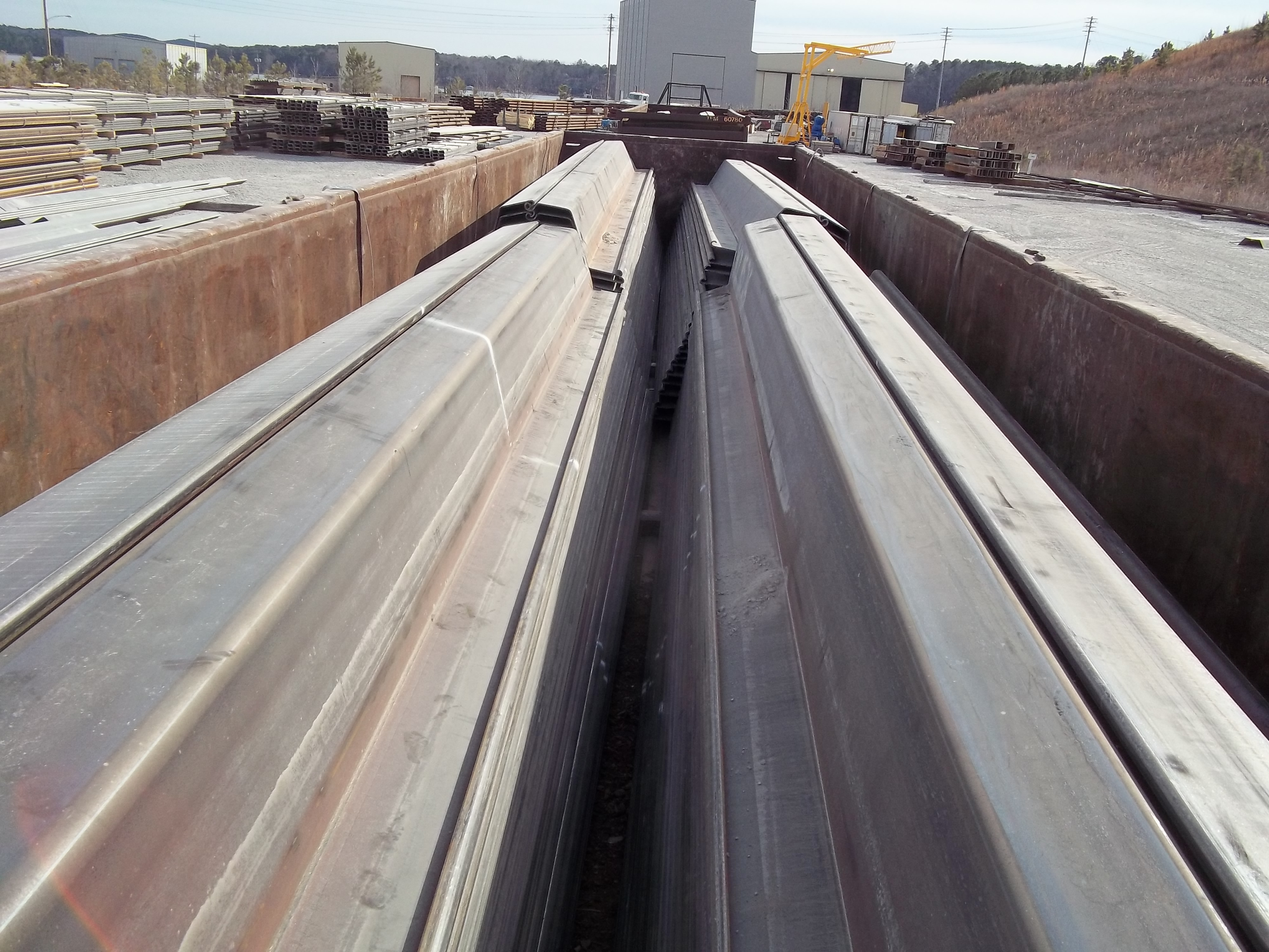 JZ120 sheet pile, loaded in a railcar, heading to the job site