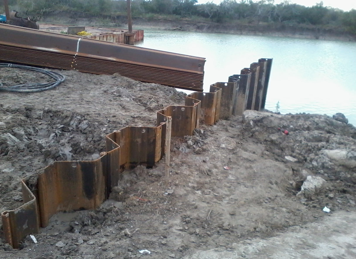 XZ85 sheet pile on lagoon repair