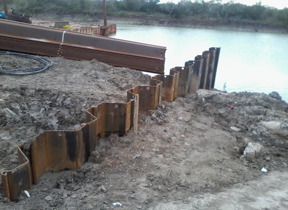 XZ85 sheet pile on lagoon repair