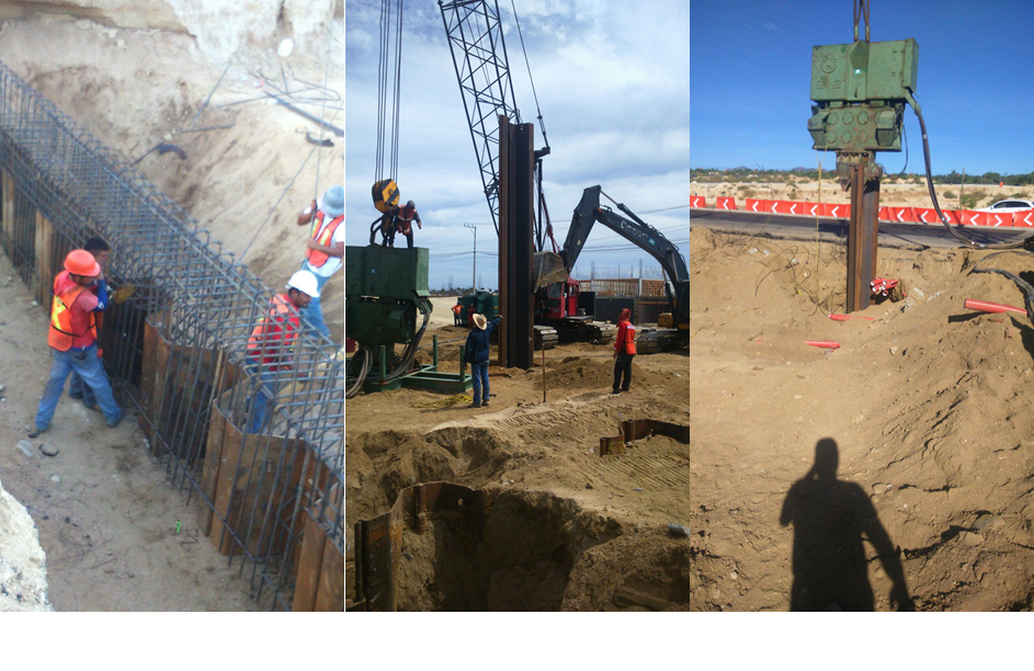 Sheet pile installation for underpass