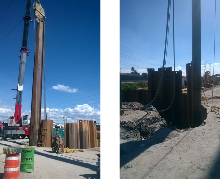 Deep drainage project – XZ85 sheet pile (by 80 foot, 40 foot sections welded together)