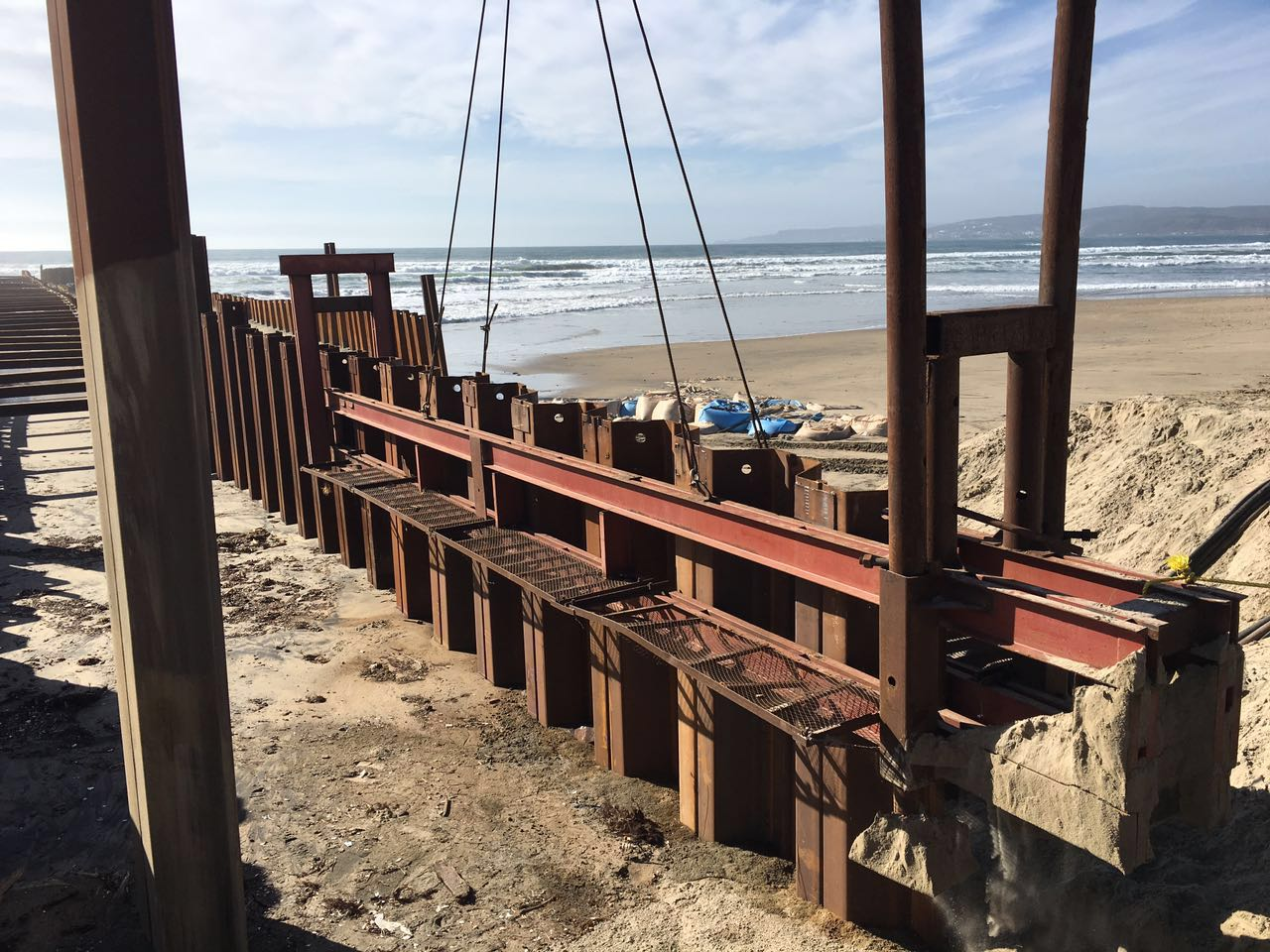 sheet pile for desalination plant installed on the beach
